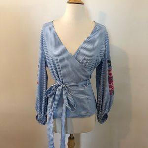 I.N.C Blue Embroidered Wrap Blouse